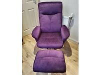 Purple Recliner Chair and Footstool