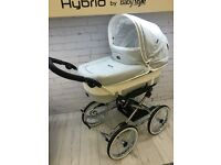 EMMALJUNGA MONDIAL DELUXE PURE CHROME CHASSIS LARGE WHEELS PRAM PUSHCHAIR