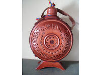 NEW Romania ornate, decorative, Folk Art, carved wood & glass flask, bottle, canteen. £4 ovno.