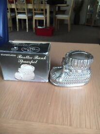 Vintage Silver-plated Bootee Money Bank with original box. Excellent condition