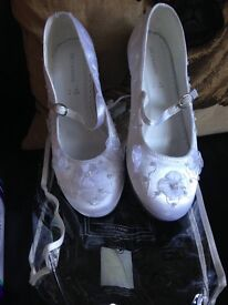One Pair of White Size 2 First Communion Shoes