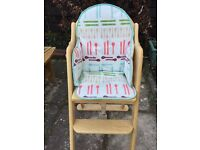 East coast wooden high chair including seat pads - good condition