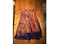 Stunning Indian style wrap around skirt with metal embroidery detail