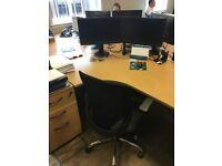 Office Desks + Three Drawer Pedestals, Medium/Light Oak ( 12 IN TOTAL)