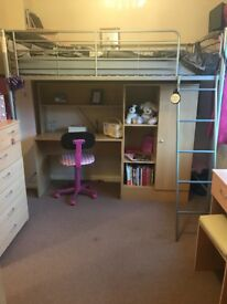 High sleeper bed with desk, wardrobe and mattress