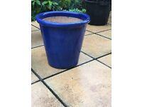 Blue Heavy glazed plant pot