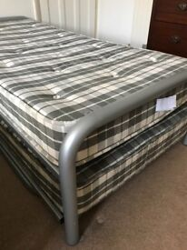 Metal Frame Twin Single Beds (folding Trundle Style) With Mattresses