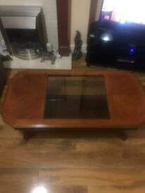 Wood & glass coffee table