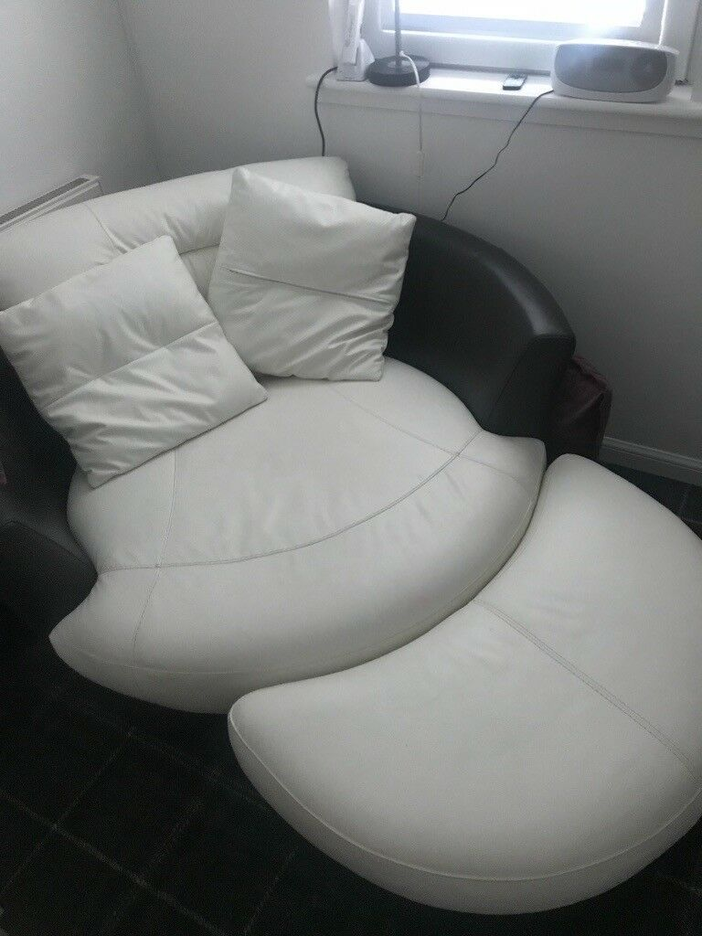 White Leather Cuddle Chair With Foot Stool