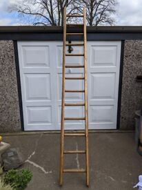 VINTAGE 10FOOT WOODEN POLE LADDER