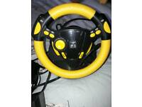 Games console steering wheel set