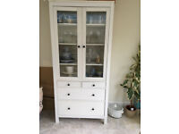 White cabinet with glass doors and 4 drawers