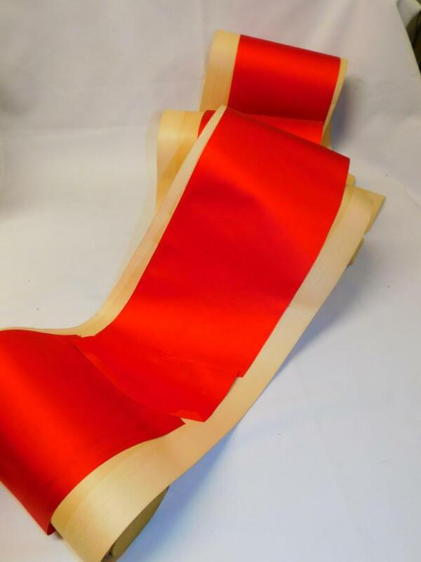 """5 Yards 5 3/4"""" wide Antique Vintage RED SATIN RIBBON on ROLL"""