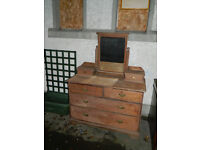 Solid wood dressing table with mirror [stripped ready for varnishing, painting or waxing]