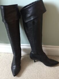 Dune Geryl Black-over the Knee pointed Boots
