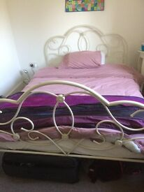 Double white metal bed frame