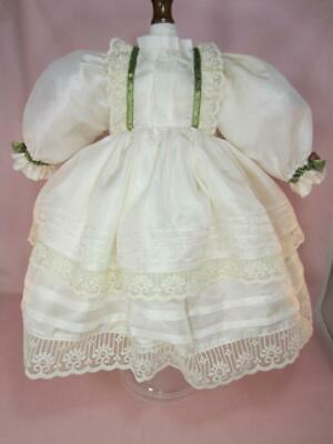 Pure Silk Dress For Antique French, German Bisque Doll - Custom, Vintage 18