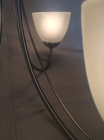 A beautiful 5 lamp & two 3 lamp polished nickel ceiling lights with glass shades & bulbs