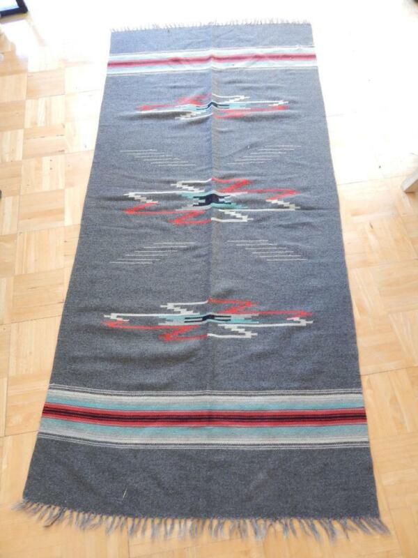 LARGE VINTAGE / ANTIQUE CHIMAYO BLANKET WEAVING RUG NEW MEXICAN - NICE !