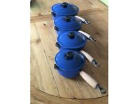 Four genuine Le Creuset Saucepans with lids (pre-owned)