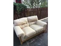 Sofa couch leather cream 2 and seater
