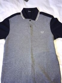 BRAND NEW Mens Navy Fred Perry Twin Tipped Polo Shirt (Size Small)