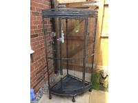 Corner parrot bird cage