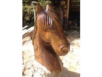 One off horse chainsaw carving about 2and half foot tall