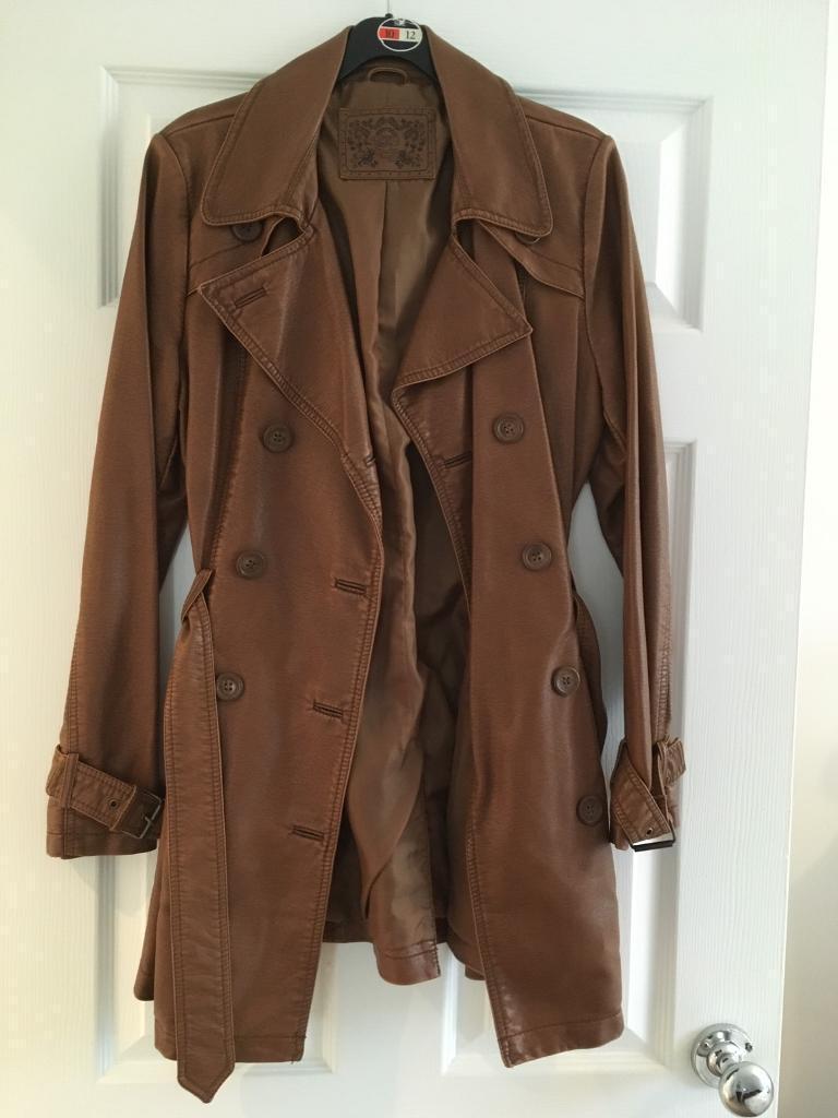 Ladies tan faux leather coat size 10