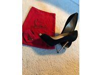 Size 5 Christian louboutin heels Black suede with gold heel