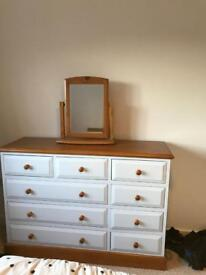 Chest of draws and matching mirror