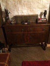 Dark Wood Sideboard with 2x cupboards and drawers.