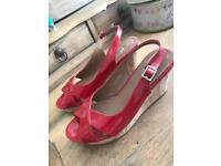 Red wedge shoes size 6