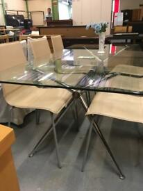 Glass table + 6 chairs (ref F.353)