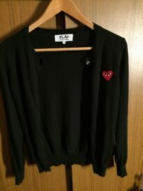 PLAY COMME des GARÇONS wool black cardigan with classic red heart