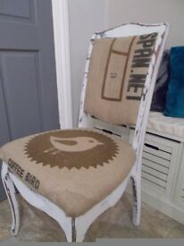 Hand refurbished Shabby Chic distressed Coffee Sack reupholstered dining kithcen hall chair