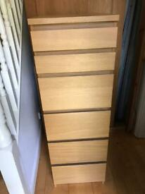 Quality Tall Oak Wood Ikea Malm Chest Drawers Unit Dresser Storage Mirror Makeup Jewellery Bedroom