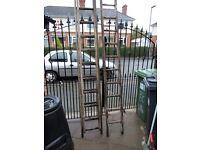 vintage ,,one singal wood ladder & one double wood ladder