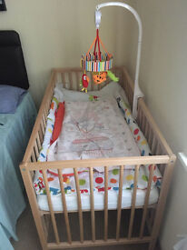 Baby Cot with Kinder Valley Flow Mattress and Waterproof protector