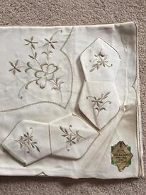 Vintage Irish linen-tablecloth two sets with napkins unused in package.