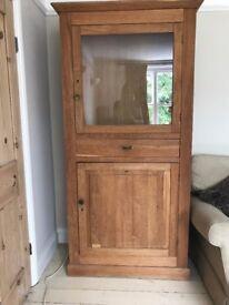 Solid Oak Cabinet/ Cupboard with glass door