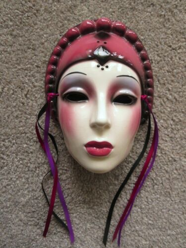 Clay Art Ceramic Face Wall Mask Decorative Art Deco Style Showgirl