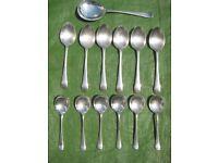 6 Priestly/Moore Valiant Plate A1 EPNS Dessert Spoons & 6 Craftsmen EPNS Fruit Spoons+Server: £15.00