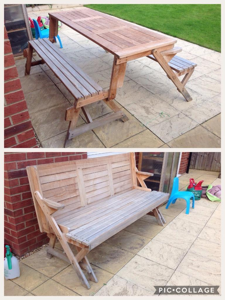 Well Made Teak Outdoor Bench And Outdoor Table Picnic Table In - Teak picnic table and benches