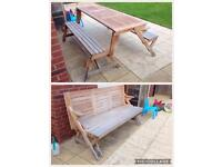Well made teak outdoor bench and outdoor table picnic table