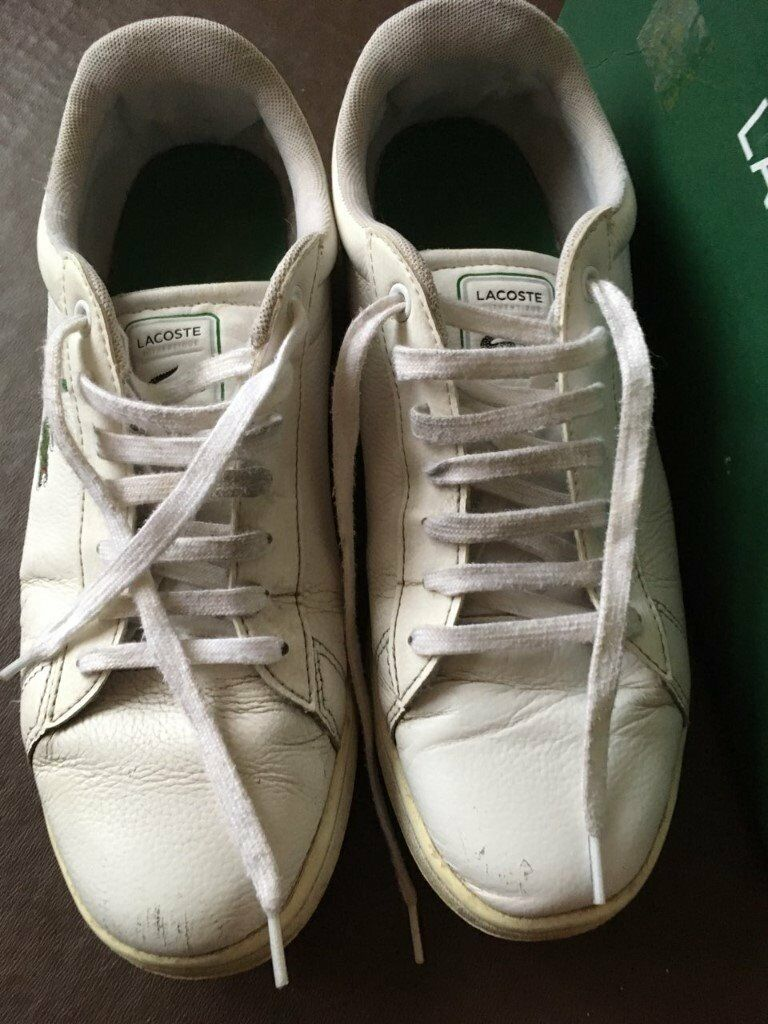 Lacoste Carnaby Evo White Leather Training Shoes Mens Size 8 - USED