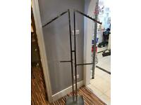 2 way stainless steel merchandiser stand with bolt on arms