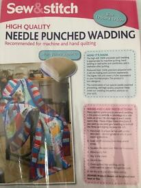 Brand new pack of Sew & Stitch High Quality Needle Punched Wadding for Machine and Hand Quilting
