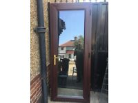 **ROSEWOOD UPVC DOUBLE GLAZED DOOR**ANGLIAN GLASS**COMPLETE WITH FRAME AND KEY**NO OFFERS**