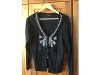Ladies black embellished cardigan